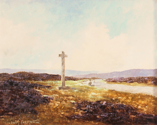 Lewis Creighton, Original oil painting on panel, Young Ralph's Cross, North Yorkshire Without frame image. Click to enlarge