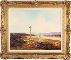 Lewis Creighton, Original oil painting on panel, Young Ralph's Cross, North Yorkshire