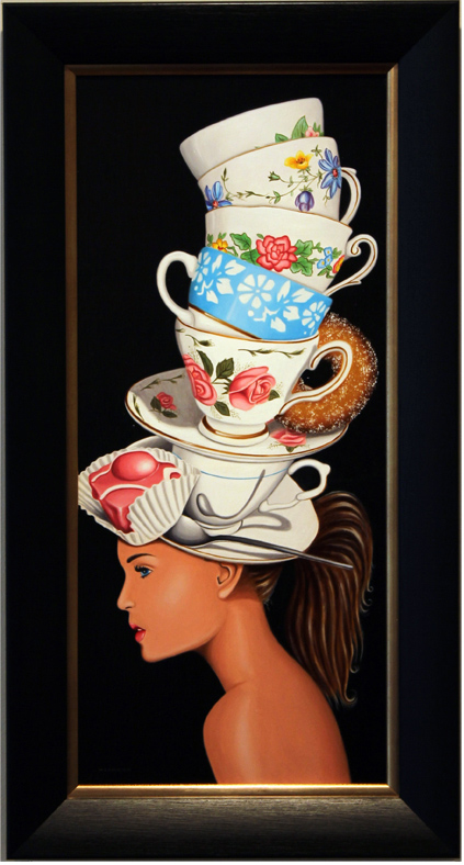 Marie Louise Wrightson, Original oil painting on panel, The Hatter's Tea Party, click to enlarge