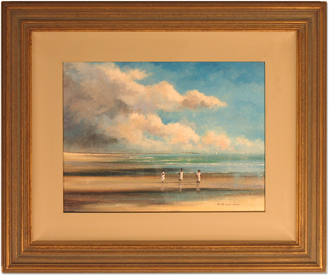 Maurice Crawshaw, Original oil painting on canvas, Children on the Beach, click to enlarge