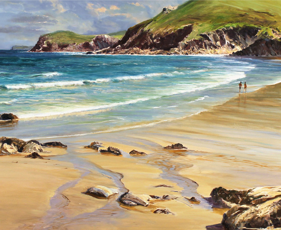 Duncan Palmar, Lundy Bay, Original oil painting on panel