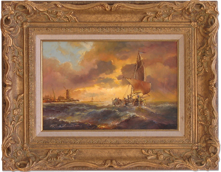 Paul Zander, Original oil painting on canvas, Marine Scene, click to enlarge