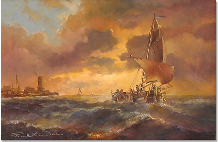 Paul Zander, Original oil painting on canvas, Marine Scene Without frame image. Click to enlarge