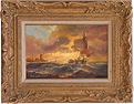 Paul Zander, Original oil painting on canvas, Marine Scene Large image. Click to enlarge