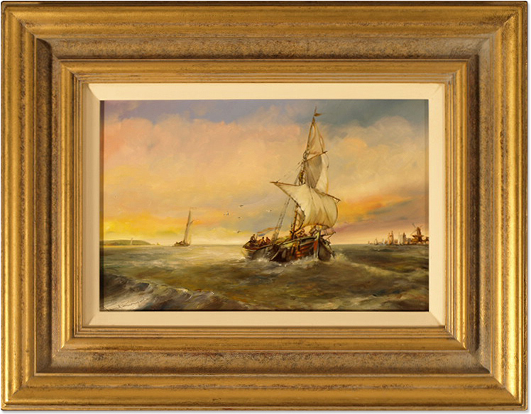 Paul Zander, Original oil painting on panel, Marine Scene, click to enlarge