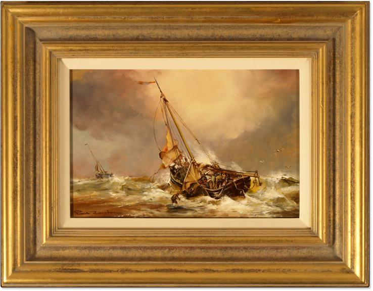 Paul Zander, Original oil painting on panel, Marine Scene, click to enlarge