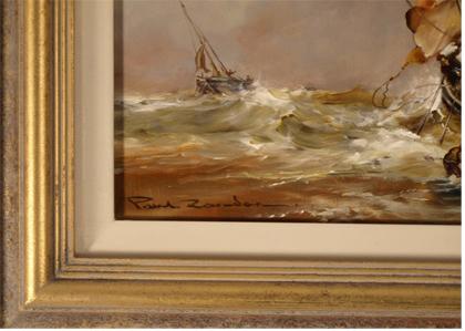 Paul Zander, Original oil painting on panel, Marine Scene Signature image. Click to enlarge