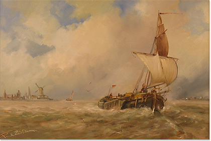 Paul Zander, Original oil painting on panel, Marine Scene Without frame image. Click to enlarge
