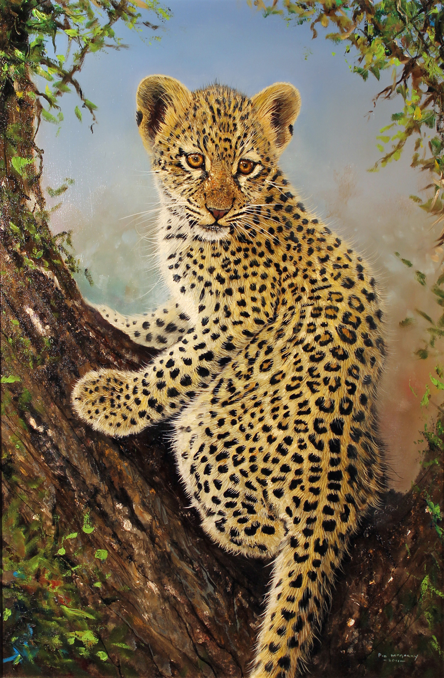 Pip McGarry, Original oil painting on canvas, Leopard Cub in a Tree, click to enlarge