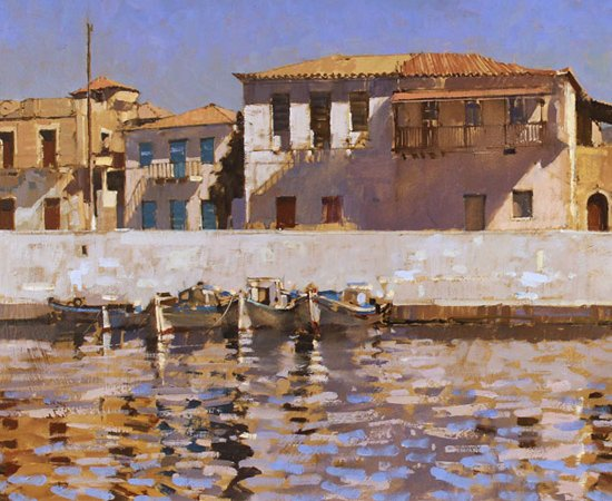 David Sawyer, RBA, Peloponnese Waterfront, Original oil painting on canvas