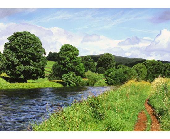 Michael James Smith, The River Wharfe, Original oil painting on panel