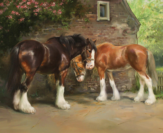 Jacqueline Stanhope, Shire Horses in Spring, Original oil painting on canvas