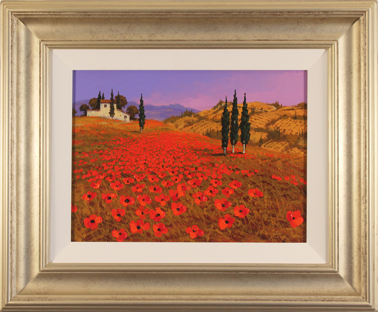 Steve Thoms, Original oil painting on panel, Tuscan Fields . Click to enlarge