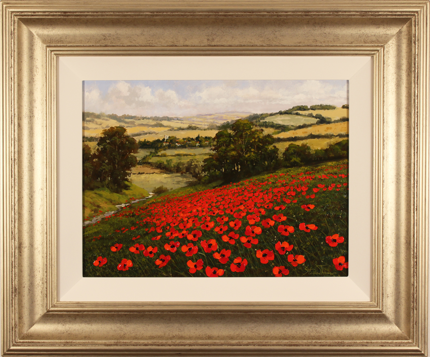 Steve Thoms, Original oil painting on panel, Poppy Fields, North Yorkshire. Click to enlarge