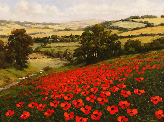 Steve Thoms, Original oil painting on panel, Poppy Fields, North Yorkshire