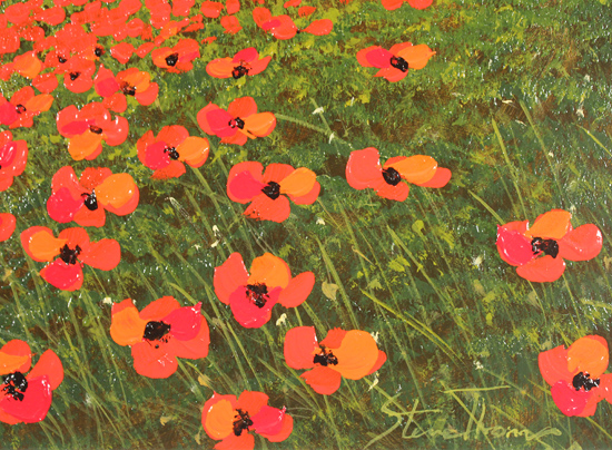Steve Thoms, Original oil painting on panel, Poppy Fields, North Yorkshire Signature image. Click to enlarge