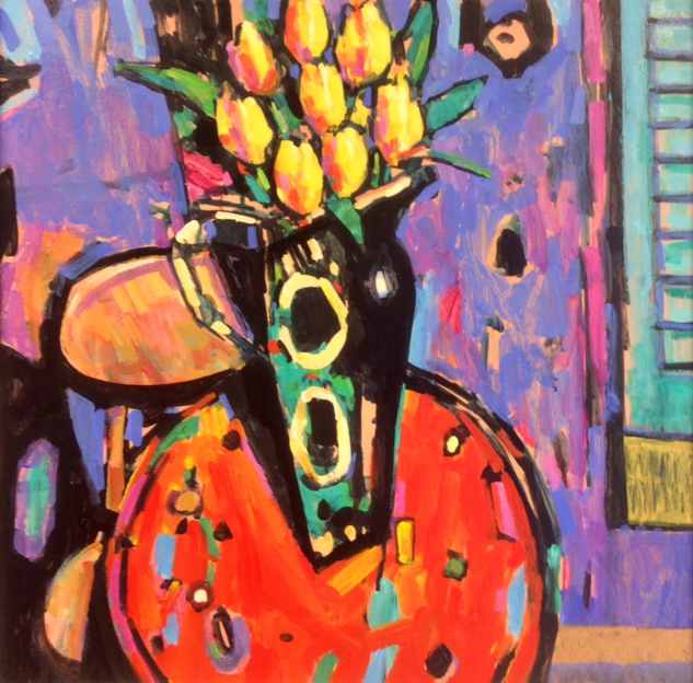 Terence Clarke, Original acrylic painting on canvas, The Yellow Tulips. Click to enlarge