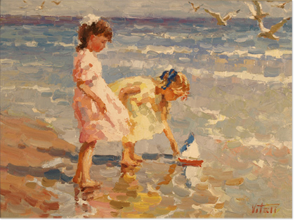 Vitali Bondarenko, Original oil painting on canvas, Beach Scene Without frame image. Click to enlarge