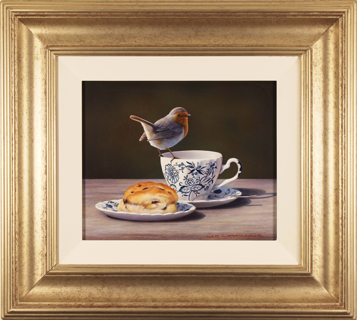 Wayne Westwood, Original oil painting on panel, Robin on a Teacup. Click to enlarge