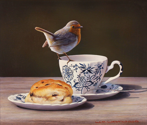 Wayne Westwood, Original oil painting on panel, Robin on a Teacup Without frame image. Click to enlarge