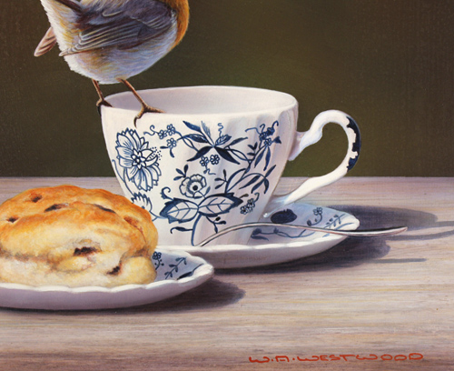Wayne Westwood, Original oil painting on panel, Robin on a Teacup Signature image. Click to enlarge