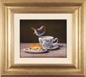 Wayne Westwood, Original oil painting on panel, Robin on a Teacup Large image. Click to enlarge