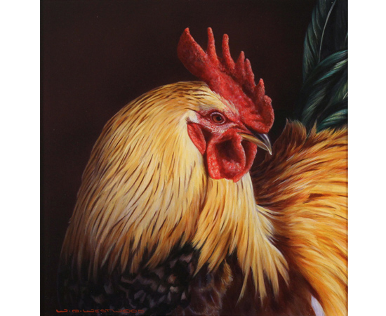 Wayne Westwood, Cockerel, Original oil painting on panel