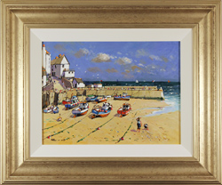 Alan Smith, Original oil painting on panel, Blue Skies, Yorkshire Coast