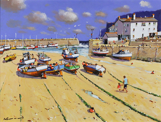 Alan Smith, Original oil painting on panel, Fishing Boats, Yorkshire Coast Without frame image. Click to enlarge