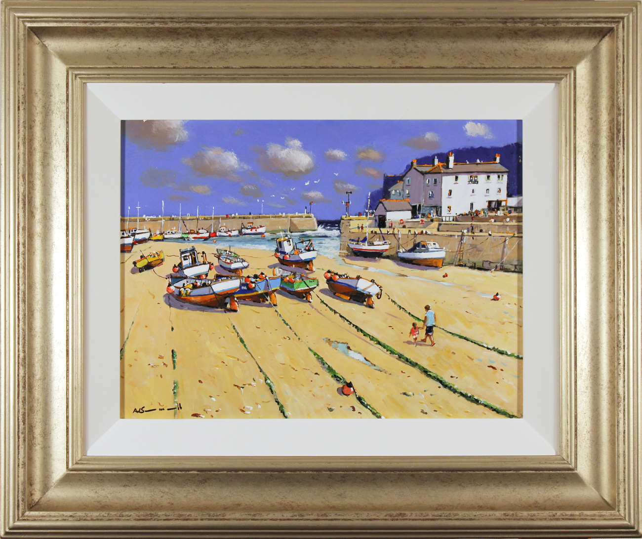 Alan Smith, Original oil painting on panel, Fishing Boats, Yorkshire Coast. Click to enlarge