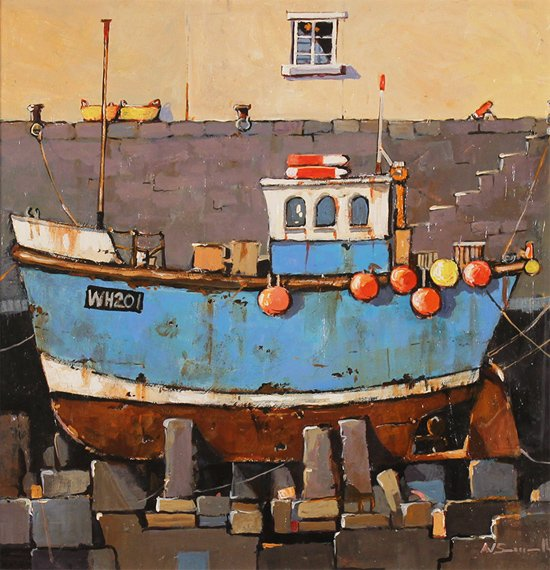 Alan Smith, Original oil painting on panel, Old Blue Without frame image. Click to enlarge