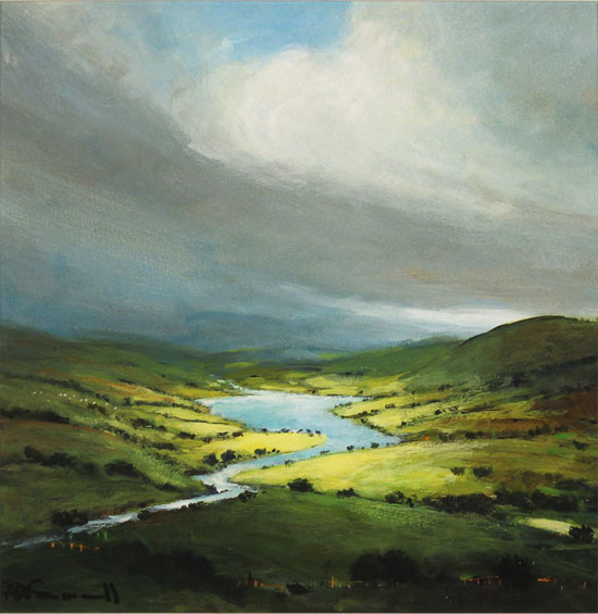 Alan Smith, Original oil painting on panel, Golden Light, The Lake District  Without frame image. Click to enlarge
