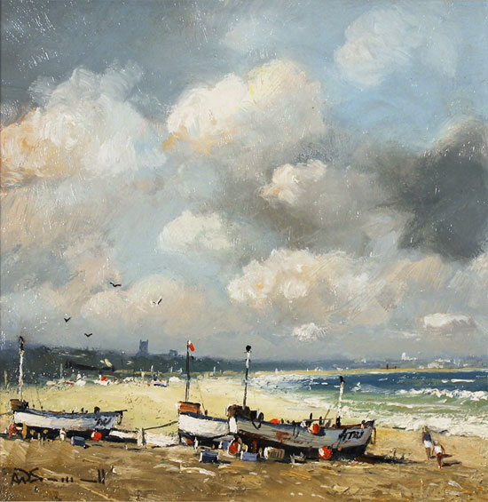 Alan Smith, Original oil painting on panel, Rising Winds, Scarborough No frame image. Click to enlarge