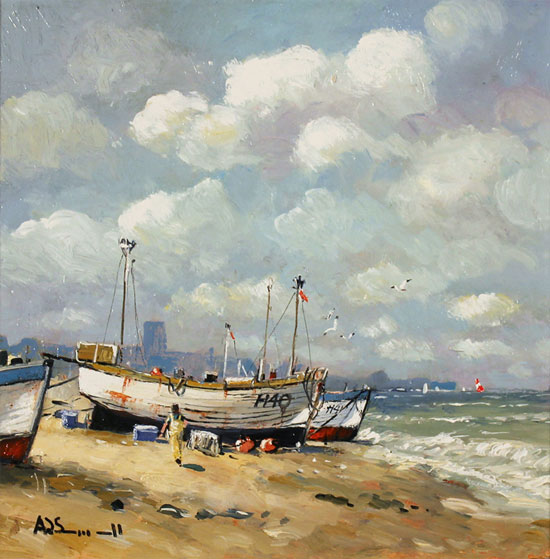 Alan Smith, Original oil painting on panel, Coastal Breeze Without frame image. Click to enlarge