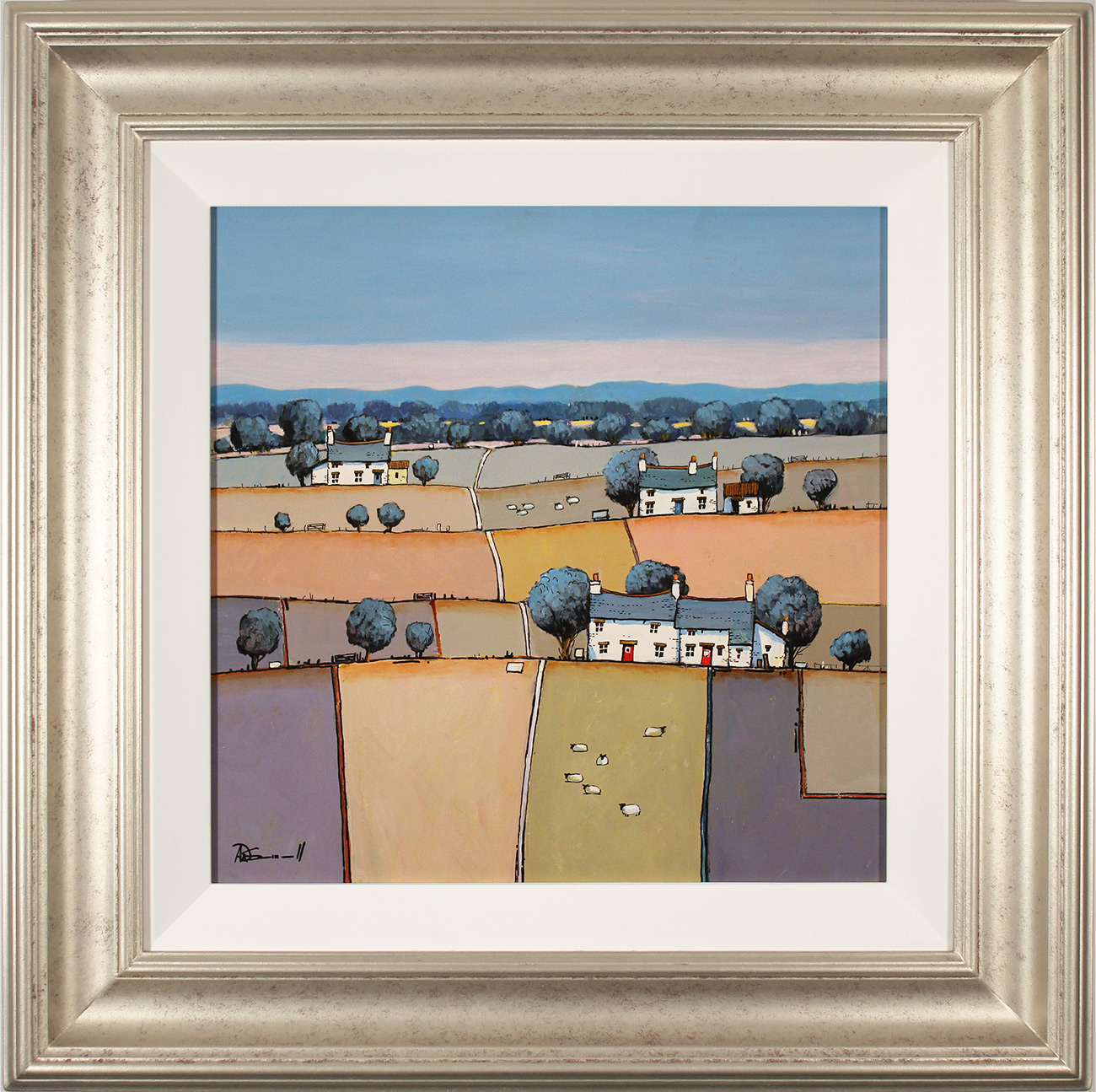 Alan Smith, Original oil painting on panel, Patchwork Fields, click to enlarge