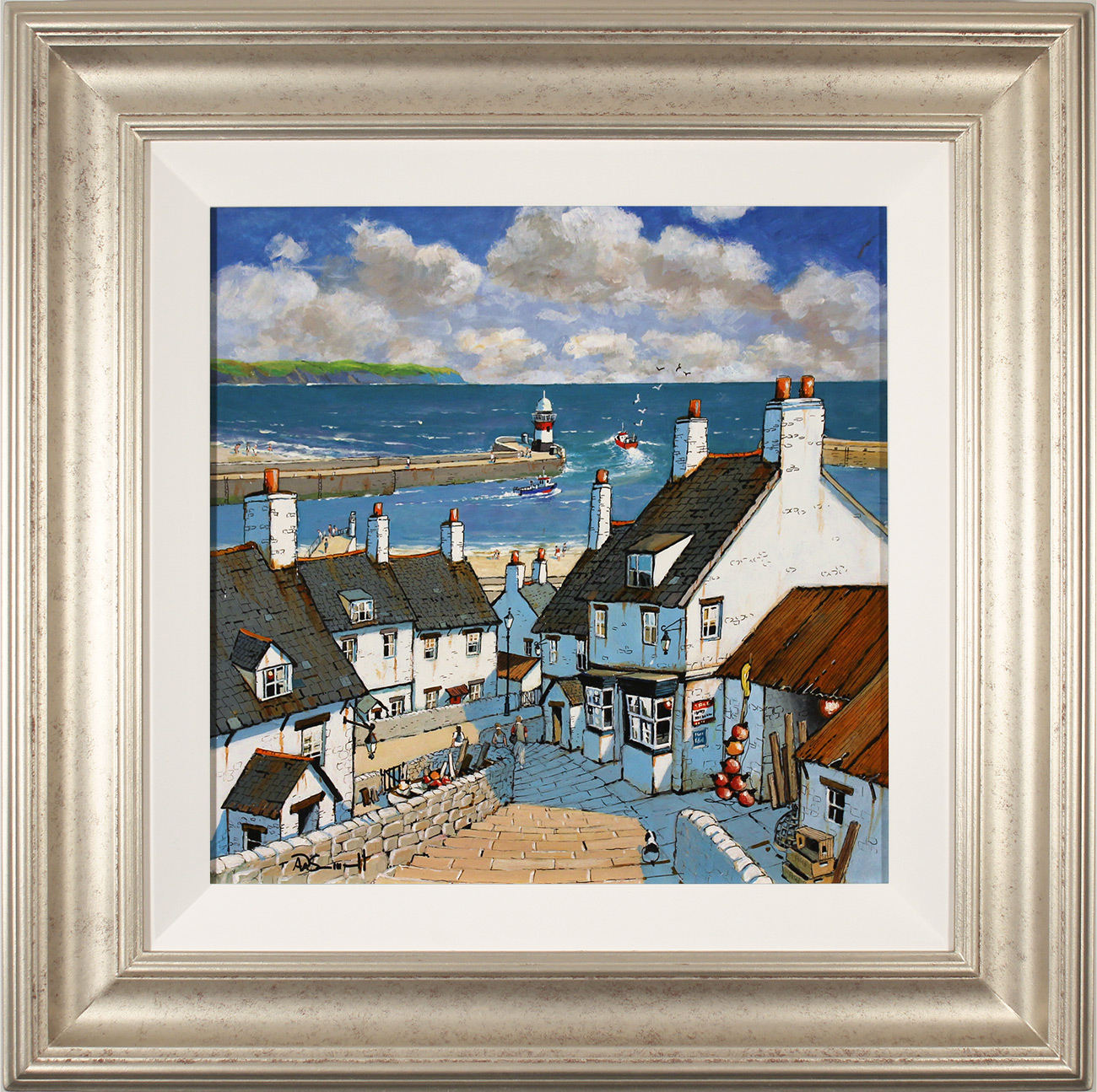 Alan Smith, Original oil painting on panel, Down to the Harbour, click to enlarge