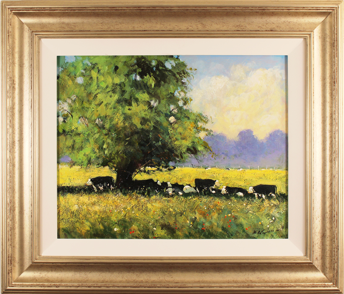 Alan Smith, Original oil painting on panel, Cows Resting. Click to enlarge
