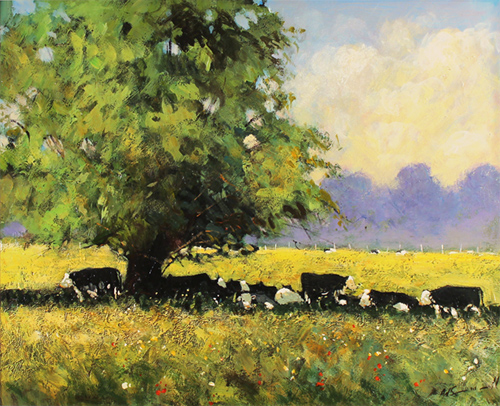 Alan Smith, Original oil painting on panel, Cows Resting Without frame image. Click to enlarge