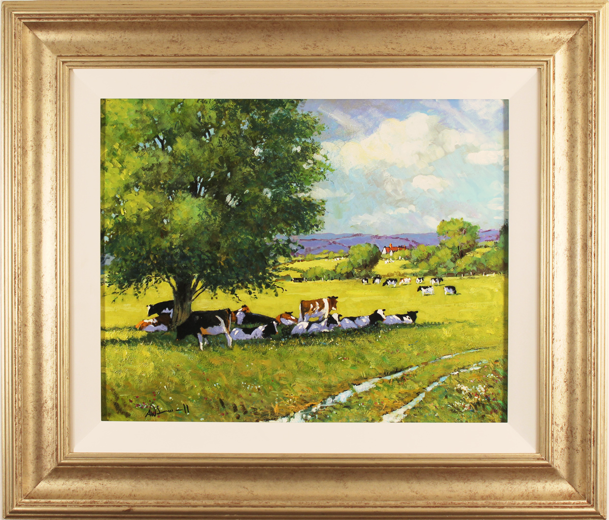 Alan Smith, Original oil painting on panel, Cattle Resting. Click to enlarge