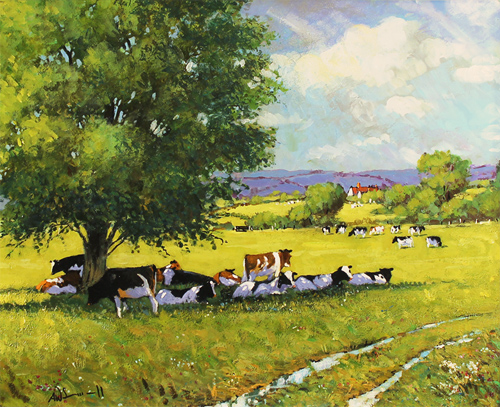 Alan Smith, Original oil painting on panel, Cattle Resting