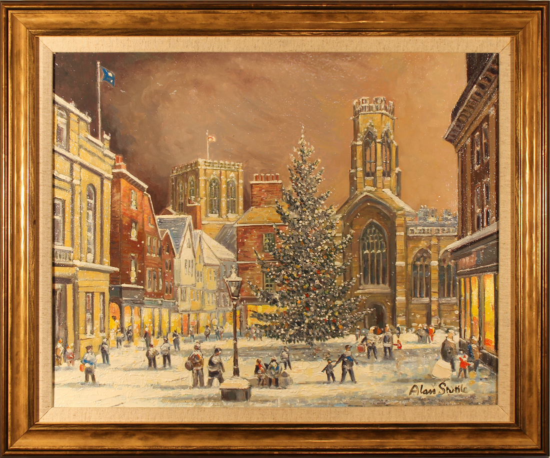 Alan Stuttle, Original oil painting on canvas, York Minster from St.Helen's Square, click to enlarge