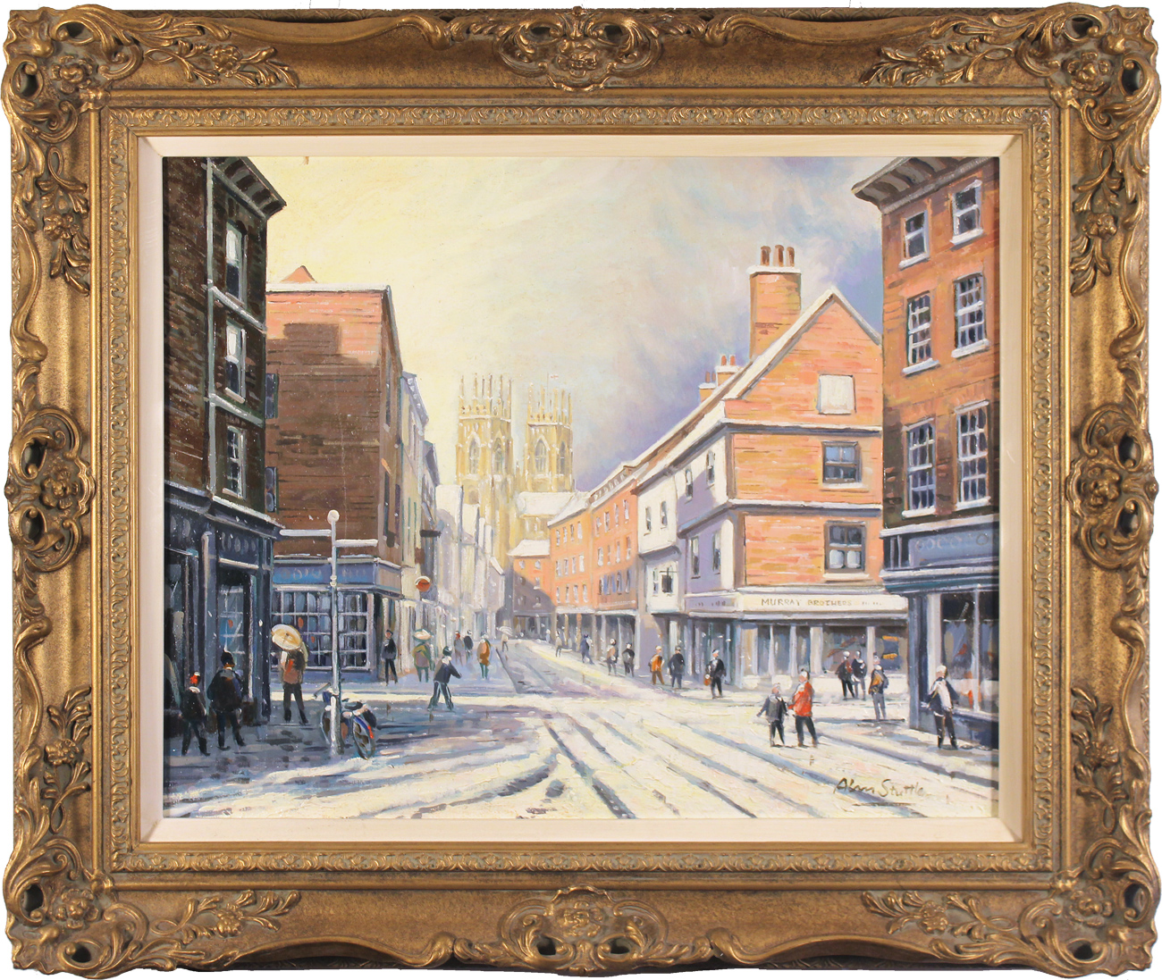 Alan Stuttle, Original oil painting on canvas, Low Petergate to the Minster, York. Click to enlarge