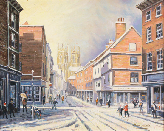 Alan Stuttle, Original oil painting on canvas, Low Petergate to the Minster, York