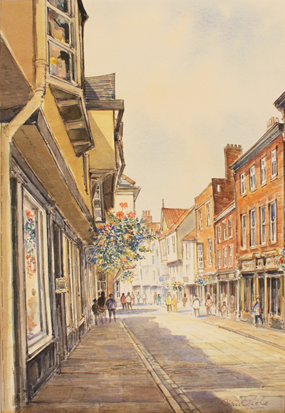 Alan Stuttle, Watercolour, Stonegate, York Without frame image. Click to enlarge