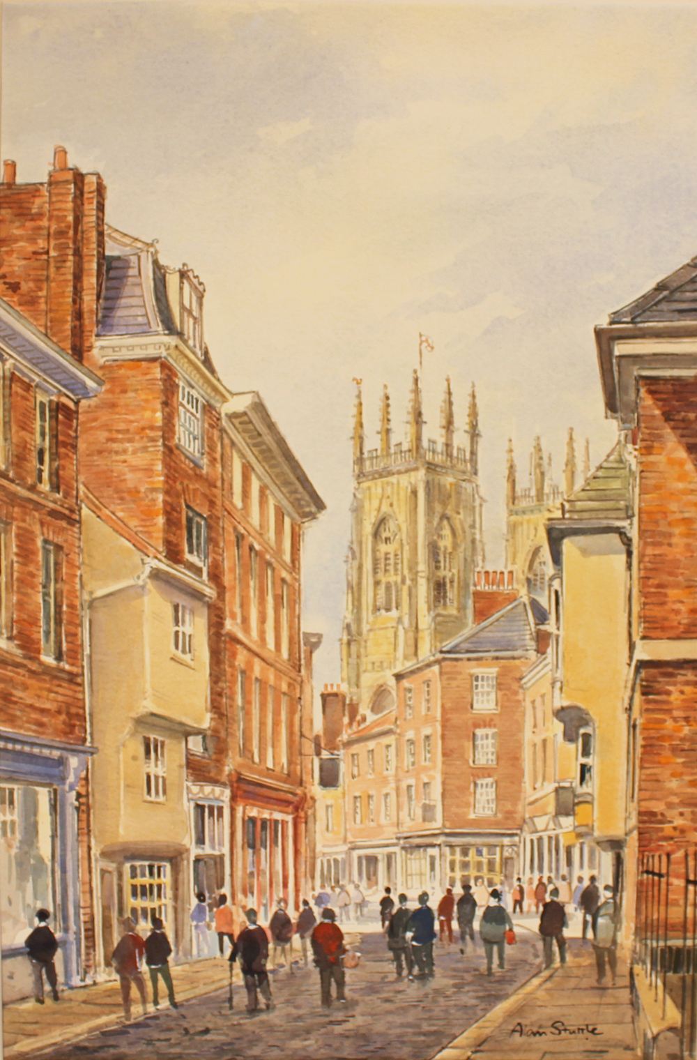 Alan Stuttle, Watercolour, York Minster, from Petergate, click to enlarge