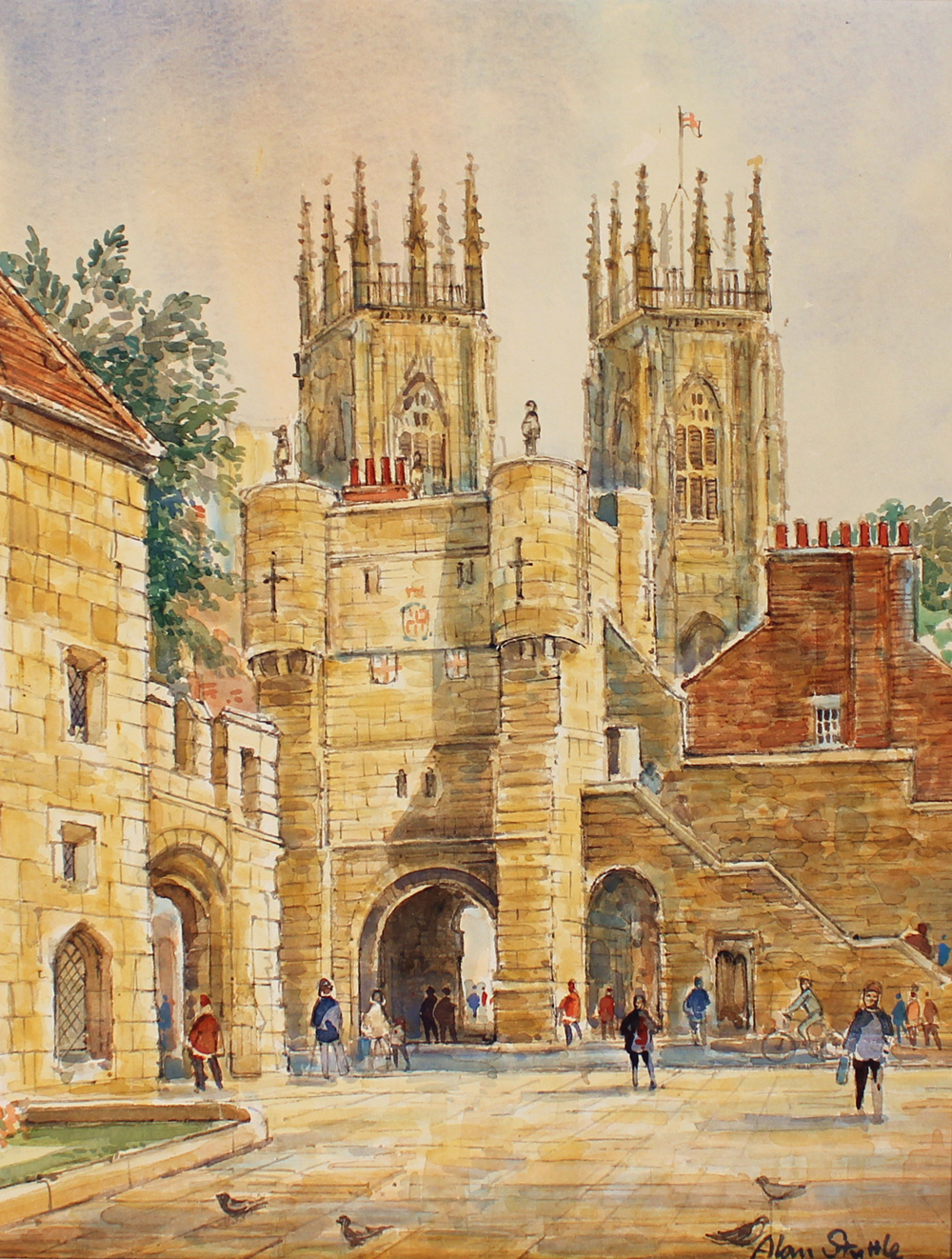 Alan Stuttle, Watercolour, York Minster from Bootham Bar, click to enlarge