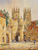 Alan Stuttle, Watercolour, York Minster from Bootham Bar