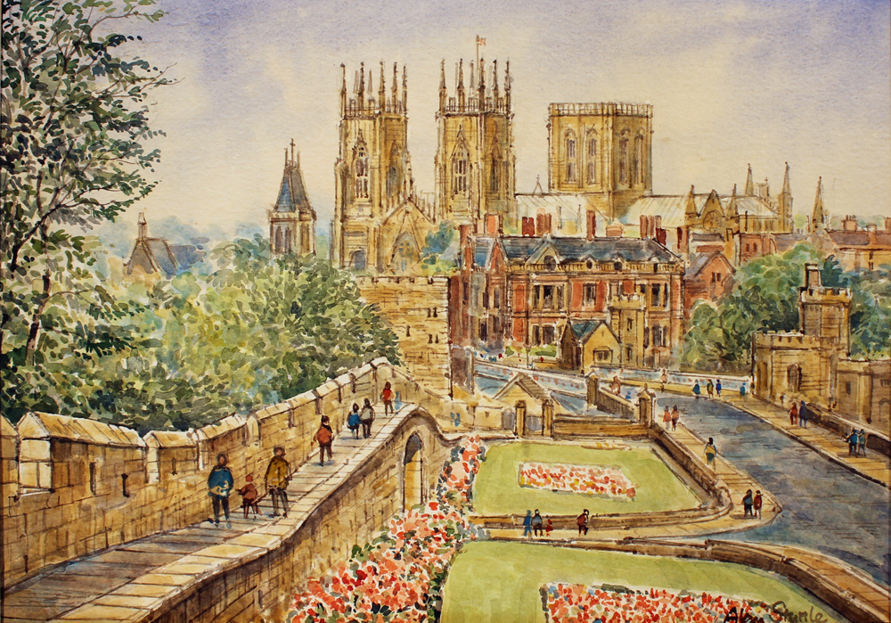 Alan Stuttle, Watercolour, York Minster from the City Walls, click to enlarge