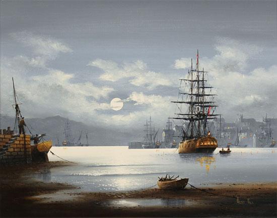 Alex Hill, Original oil painting on canvas, Moonlight Mooring