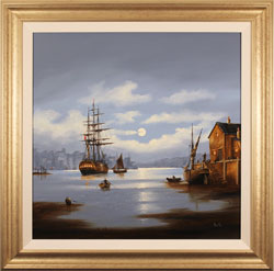 Alex Hill, Original oil painting on canvas, Moonlight at Whitby Harbour